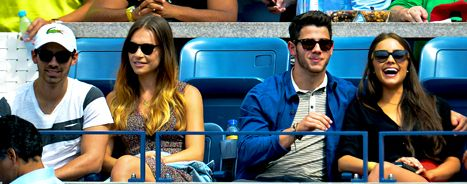 Double dating, JoBro style! Nick and Joe Jonas took their GFs Olivia Culpo and Blanda Eggenschwiler to the U.S. Open.