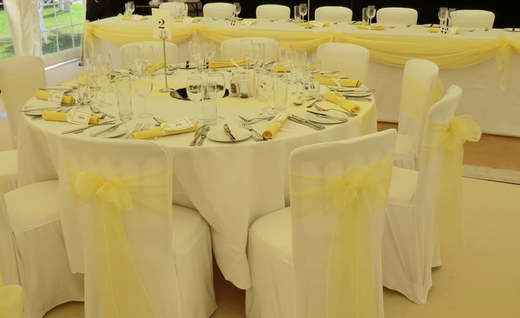 Lemon organza sashes, table runner and top table swag combination www.dedicated2detail.co.uk