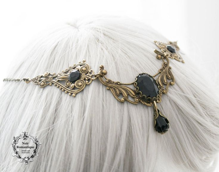 Bronze fantasy circlet with black gems-gothic circlet-bronze circlet-fantasy circlet-gothic fantasy circlet-gothic headpiece-2in1 -necklace by NoirRomantique on Etsy