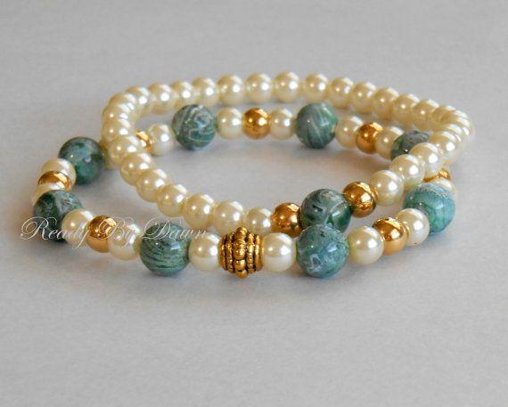 Perla & Lacey musgo ágata apilar brazaletes / perlas de vidrio