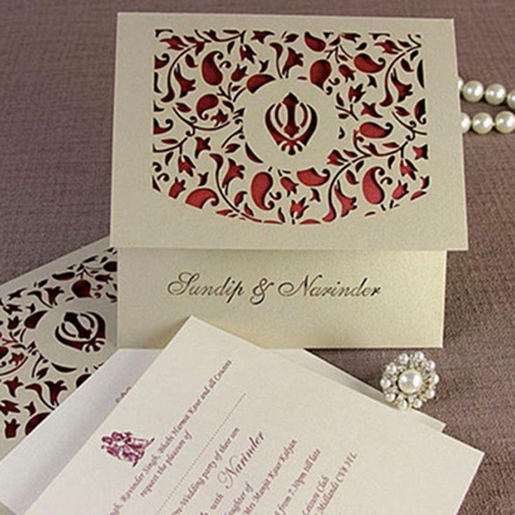 Luxury Intricate Lace Laser Cut Sikh Overlap Fold Indian Hindu Asian Wedding…