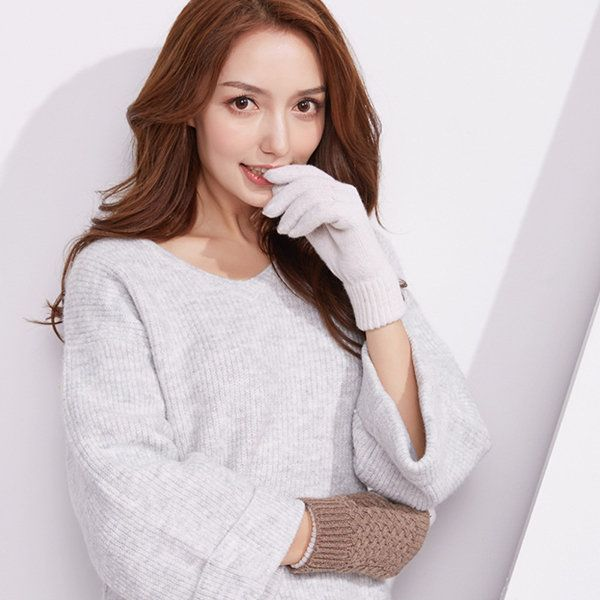 Womens Ladies Winter Warm Knitted Thickening Touch Screen Cute Gloves Cycling Full-finger Gloves