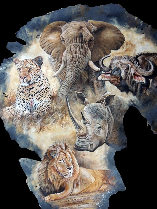 Beautiful leather art - The Big African Five - pinned by https://ianandersonfineart.com/