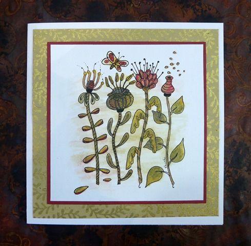 Florabunda card coloured with Inktense pencils. Pod design.