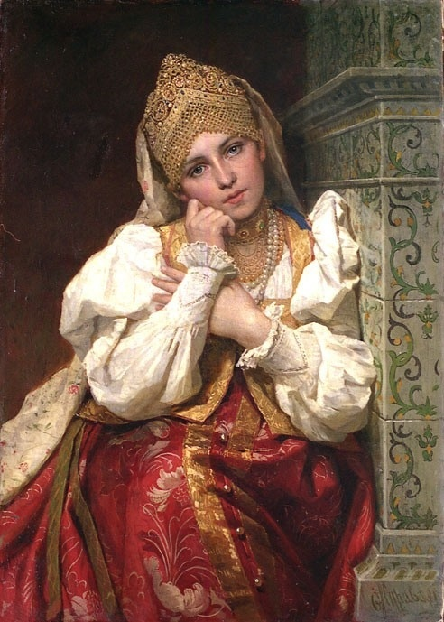Painting by Unknown Artist of his representation of Maria Fyodorovna Nagaya (c.1572-1608 age 36) Russia. 8th wife in 1581 of Tsar Ivan IV The Terrible Vasilyevich Rurik (25 Aug 1530-28 Mar 1584) Russia. She & their son Tsarevich Dmitry-Dmitri Ivanovich Rurik (19 Oct 1582-15 May 1591) Russia were exiled to Uglich, Russia by Tsar Boris I Godunov.