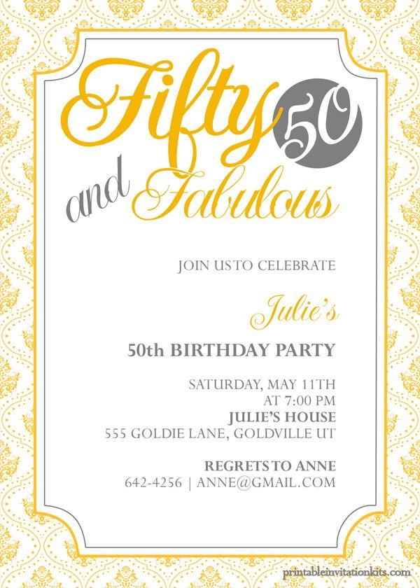 Best 20+ 50th birthday invitations ideas on Pinterest | Surprise ...