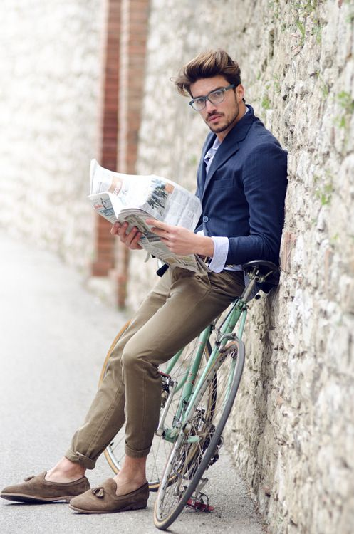 """Ultra-hipster. """"Oh, hey, just me, leaning against my bike with my cuffed chinos reading this paper.""""   Please."""