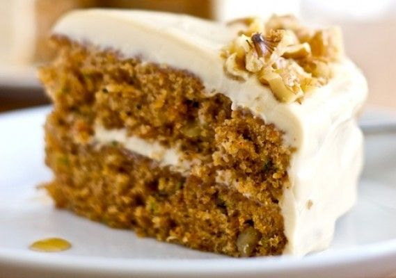 Zucchini Carrot Cake with Maple Brown Sugar Frosting   - from The Answer is Cake.