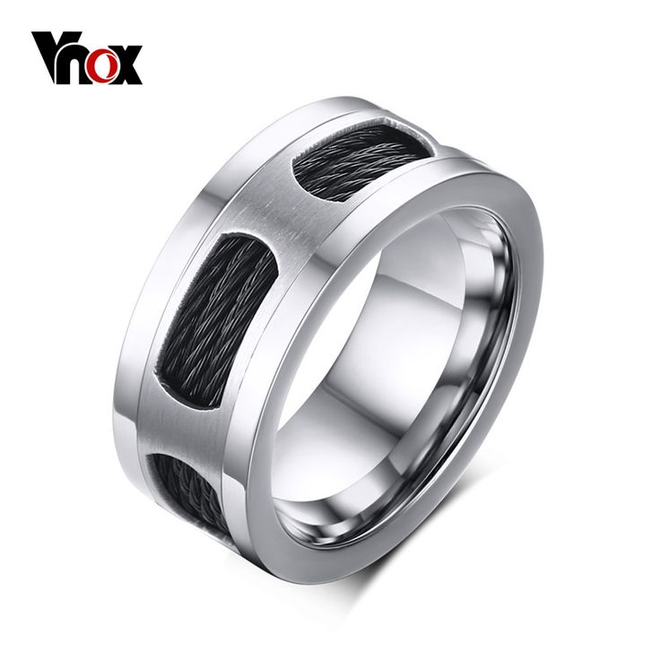 Vnox Black Punk Men's Cable Wire Inlaid Rings 10MM Stainless Steel Spike Ring Men Jewelry Korean Creative Band Ring