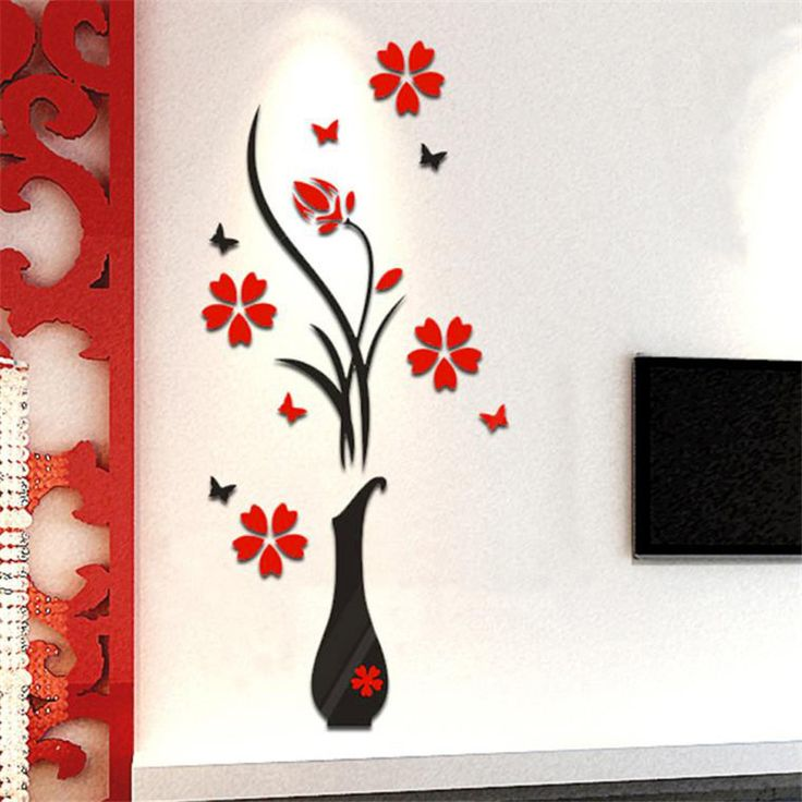 Vase Flower Wall Sticker //Price: $9.99 & FREE Shipping //     #stickers
