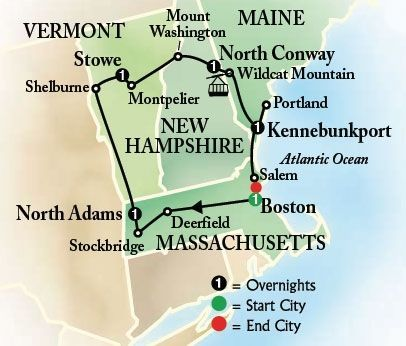 6-Day Bus Tour to Boston and New England Book early and save 10%! Visit popular New England vacation spots: Boston, Kennebunkport , Stowe, Stockbridge and more!