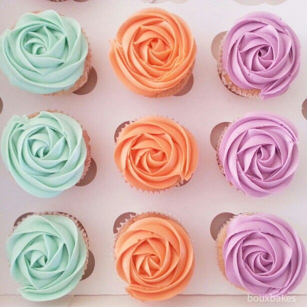 Colourful frosted cupcakes