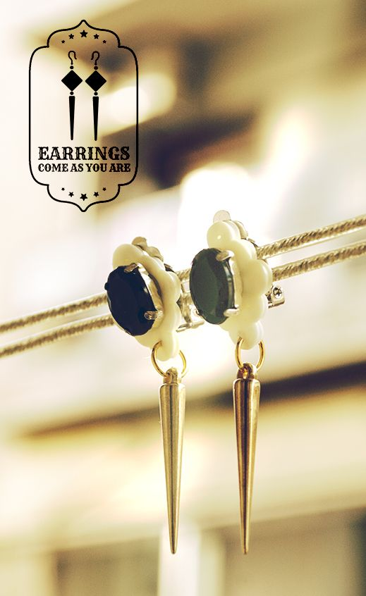 Clip-on Dangle Black Crystal Earrings - Also available in black, pink, purple