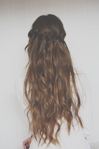 Brunette curls and braid