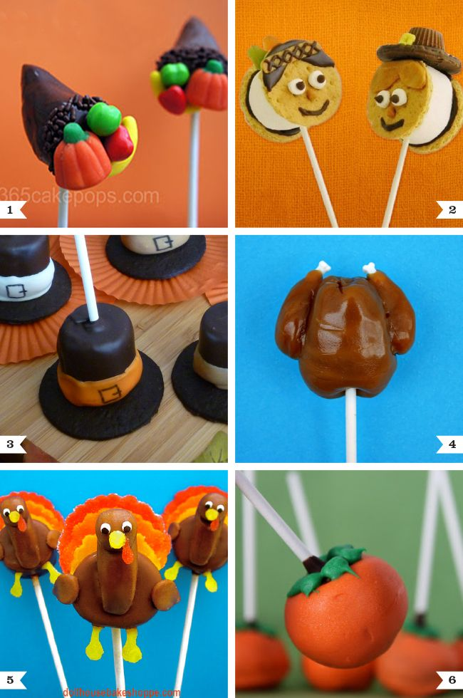 Cutest Thanksgiving treats on a stick (cake pops)