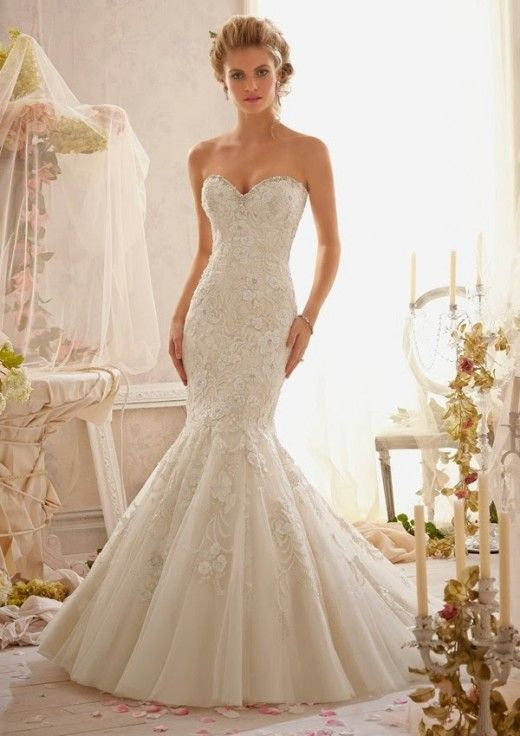 Mori Lee white strapless sweetheart lace mermaid wedding dress