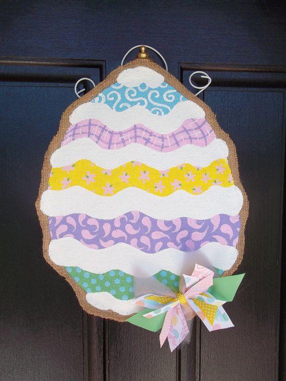 Easter burlap door hanger by carynnscreations on Etsy, $25.00