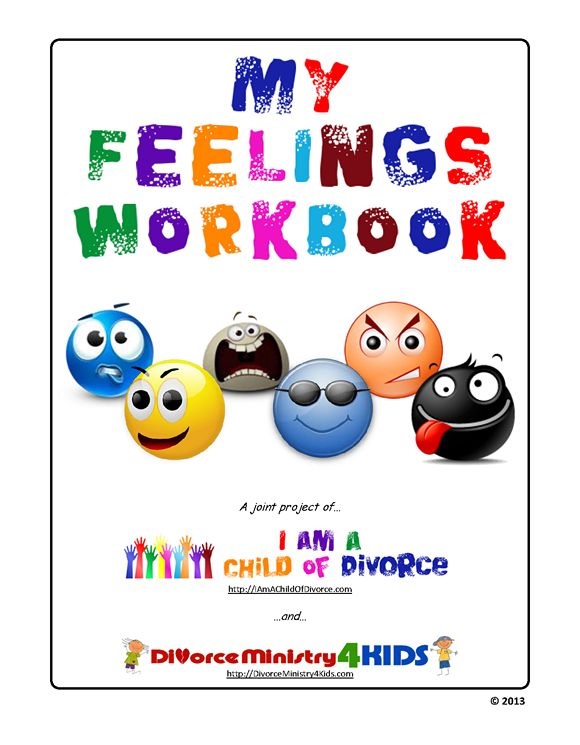 My Feelings Workbook. Lots of feelings and boxes for Face looks like, Body looks like, Inside feels like, What does and does not make you feel that way.