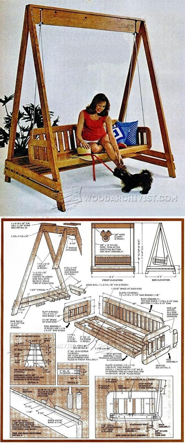 Porch Swing Plans - Outdoor Furniture Plans and Projects | WoodArchivist.com #woodworkingbench