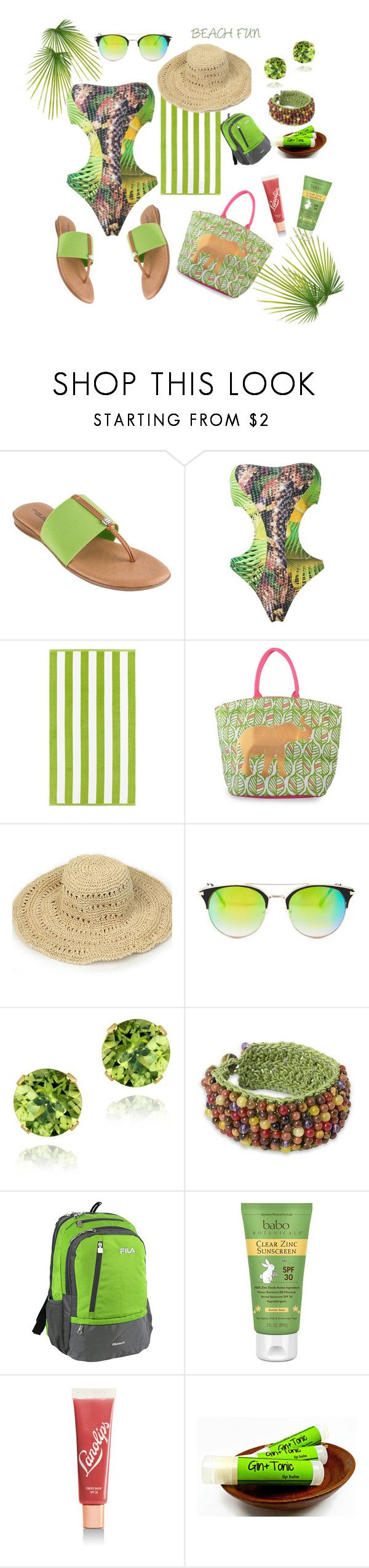 """""""Beach Fun"""" by siriusfunbysheila1954 ❤ liked on Polyvore featuring André Assous, Lygia & Nanny, Kassatex, Lucky Brand, Glitzy Rocks, NOVICA, Fila, Babo Botanicals and Lano"""