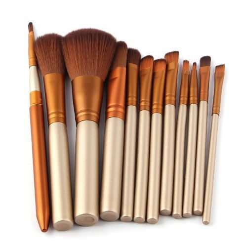 Elegant 12 Piece Make Up Brushes and Foundation Set
