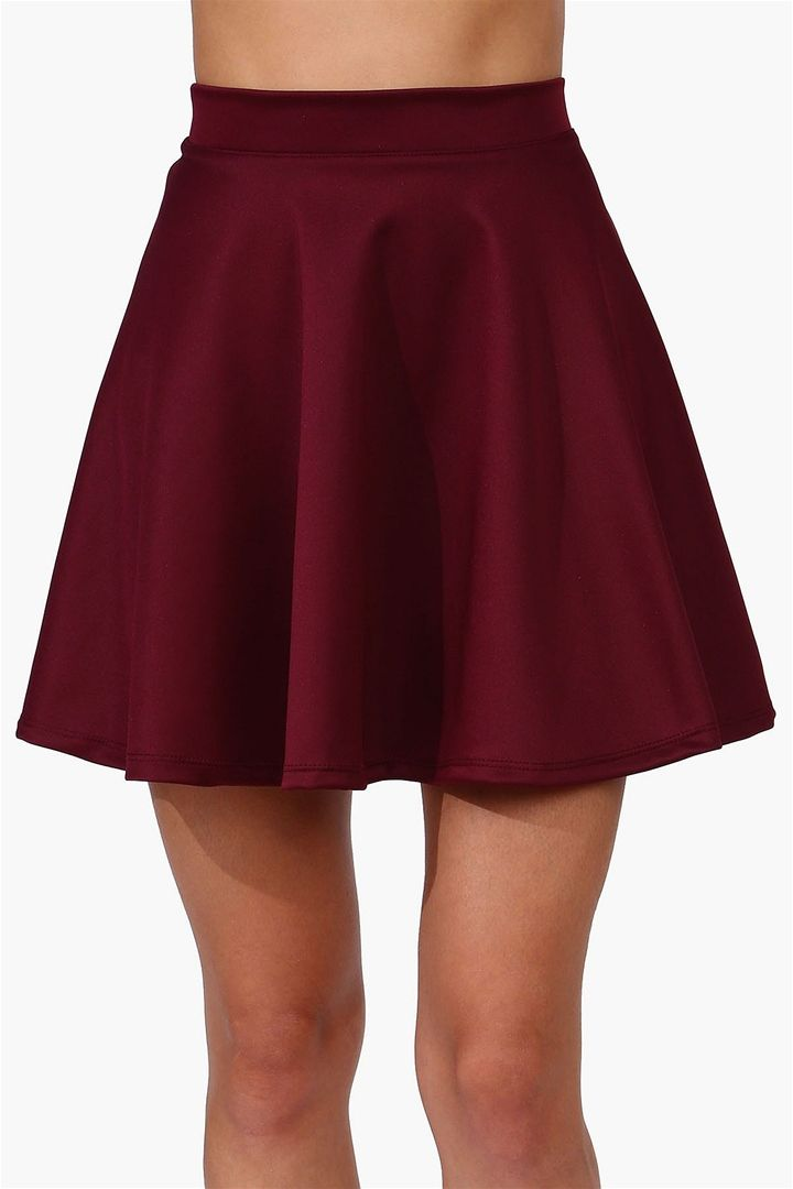 Sweet Elastic Waist Solid Color Women's Skirt