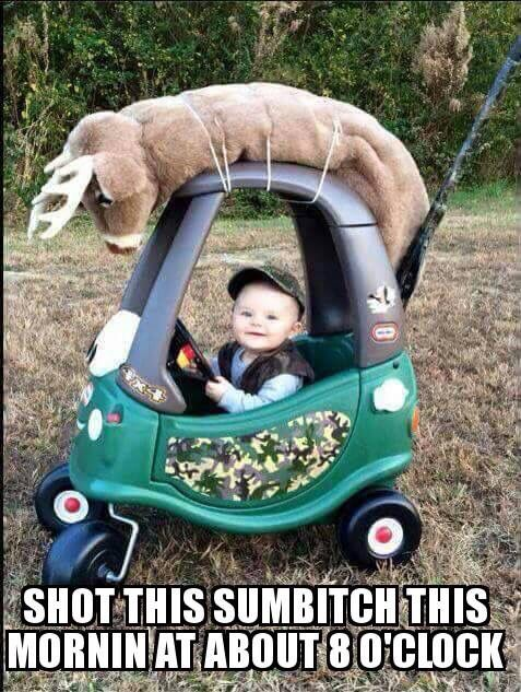 Redecorated camo toddler hunting car with deer on top