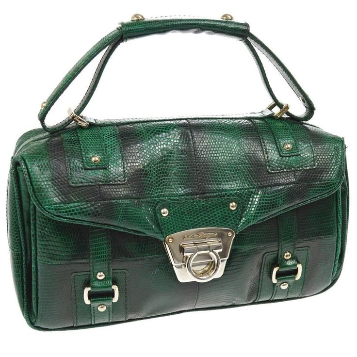 Salvatore Ferragamo Leather Snakeskin Embossed Evening Top Handle Satchel Bag | From a collection of rare vintage top handle bags at https://www.1stdibs.com/fashion/handbags-purses-bags/top-handle-bags/