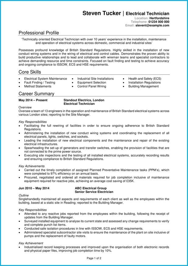 Inspiring Electrician Resume Template Picture Electrician Cv