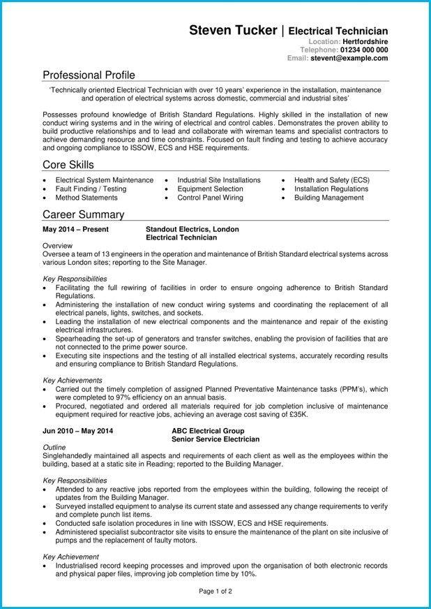 Electrician Cv Colonarsd7 Resume Template Cv Template Cv Examples