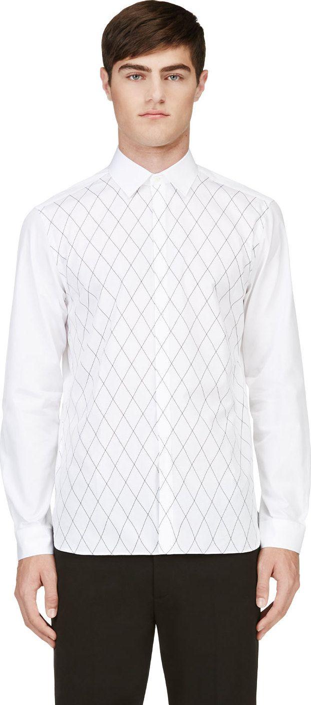 Neil Barrett - White Diamond Grid Shirt | SSENSE