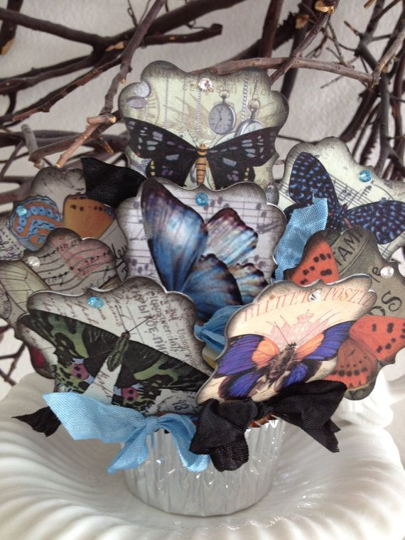Butterfly Wedding Cupcake Toppers  / Set Of by PaperSparrowCouture, $25.00