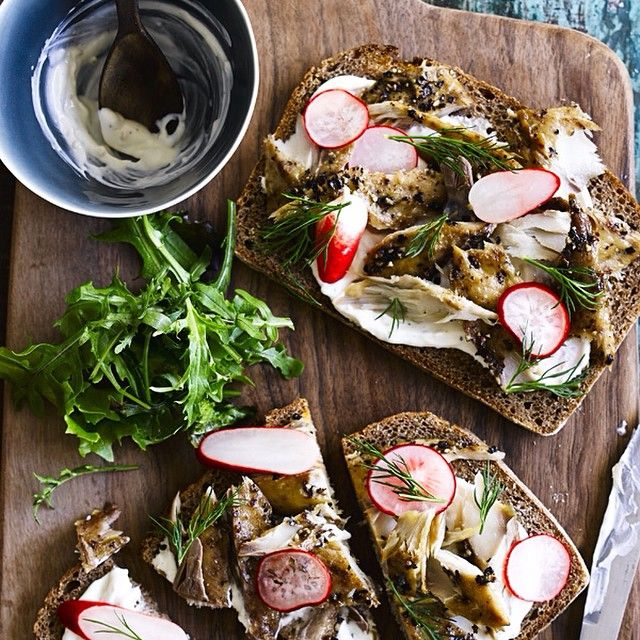 Smoked mackerel on rye with horseradish cream and pickled radish http://www.olivemagazine.com/recipes/smoked-mackerel-on-rye-with-horseradish-cream-and-pickled-radish/6530.html