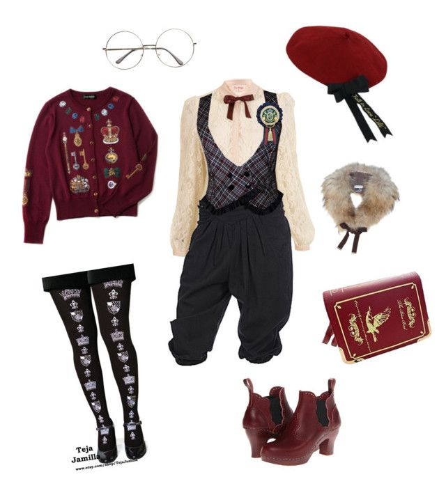 """Scholarly Prince"" by jekaclover ❤ liked on Polyvore featuring Miss Selfridge, Swedish Hasbeens, Yves Salomon and vintage"