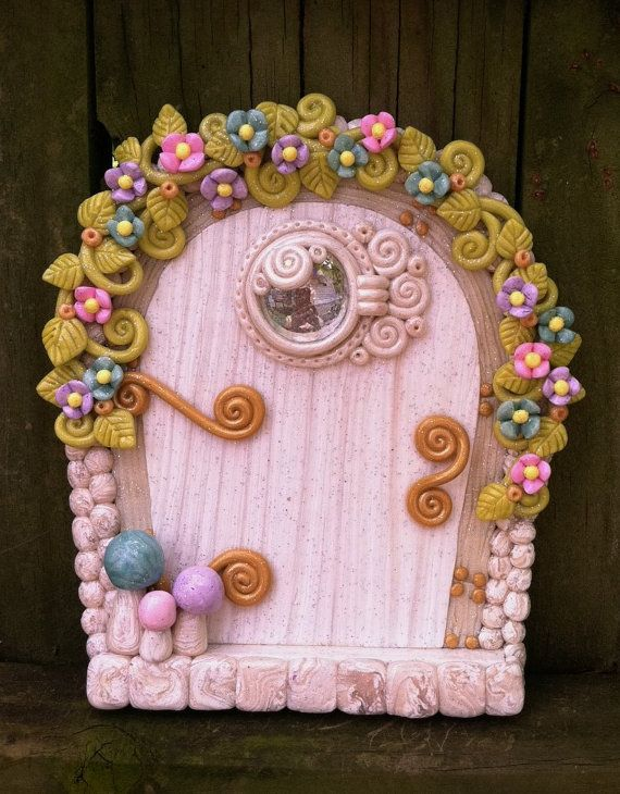 White and pastel fairy door pixie portal in polymer clay for White fairy door