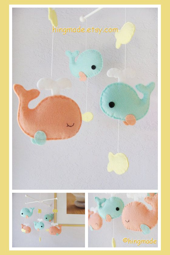Baby Mobile Whale Nursery Mobile - Coral Turquoise Whale family and yellow fish on Etsy, $82.00. Way cute colors. Probably could make this