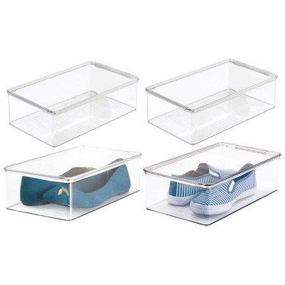 mDesign Plastic Stackable Closet Shelf Shoe Storage Organizer Bin, 4 Pack, Clear
