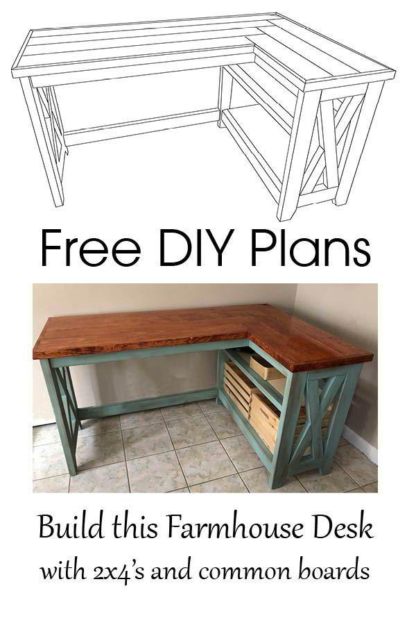 Free Plans Diy Farmhouse Desk In 2020 Diy Furniture Plans Diy Desk Plans Furniture Plans