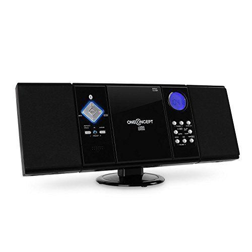 oneConcept V-12 Chaîne stéréo ultra-plate (Bluetooh, lecteur CD-MP3, écran LCD, montage mural possible, réveil via radio, CD ou buzzer) –…