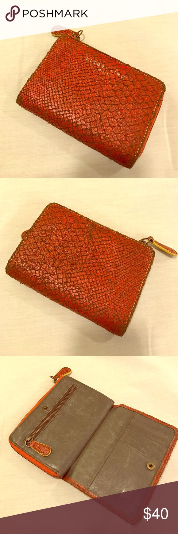 """Orange leather vintage look wallet Liebenskind, German wallet made of 100% cowhide with a vintage shabby chic look in excellent condition as only used a few times. Overall size 6""""x4"""". 13 spaces for cards on either side of main zipped partition with another small zipped area. Liebeskind Bags Wallets"""