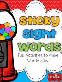 Sticky Sight Words! Activities to Make Sight Words Stick!  Lots of easy to implement ideas for centers or Daily 5 time!