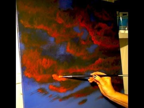 How To Paint Clouds, Red Clouds Painting, Acrylic Sunset Painting, Art, .