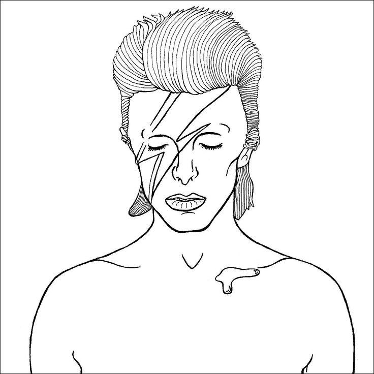 david bowie - bordar na jaqueta branca com linha preta e depois com ponto cheio o raio vermelho