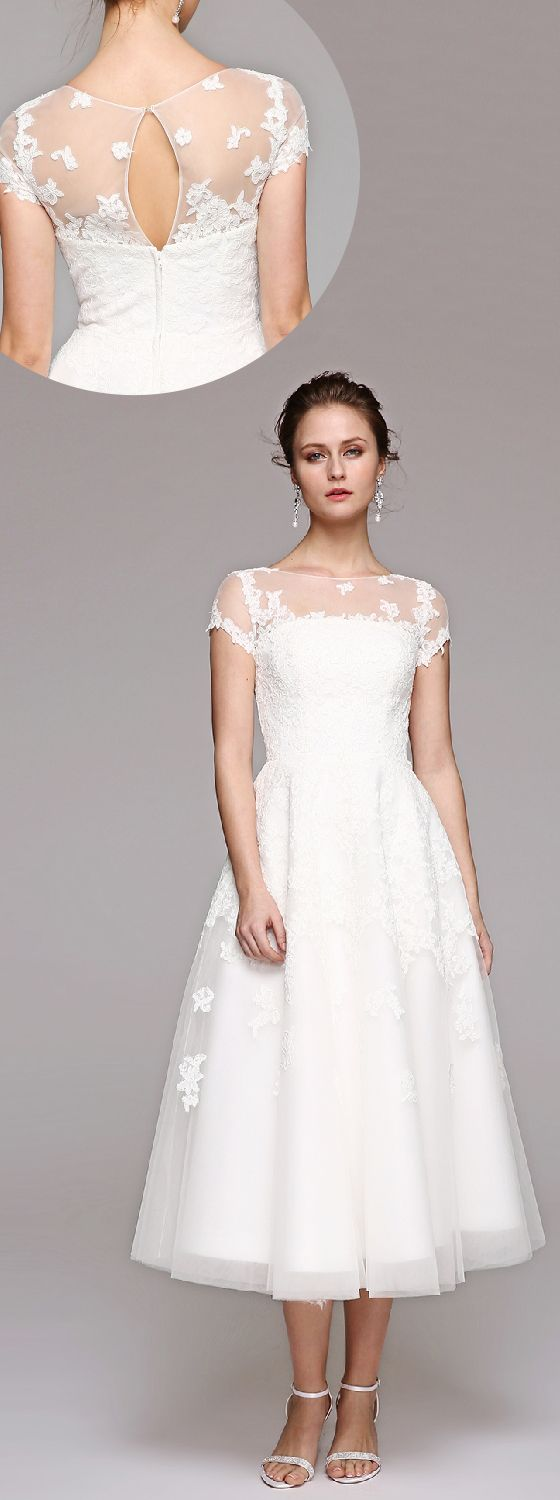 A-Line Illusion Neckline Tea Length Lace Tulle Wedding Dress with by LAN TING BRIDE®