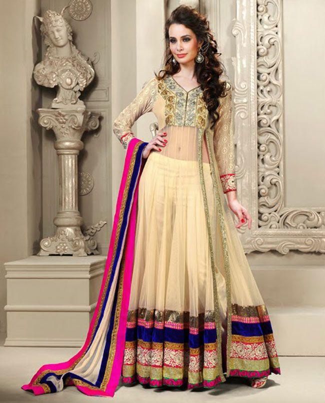 Elegant Beige Brown Net Anarkali Salwar Kameez