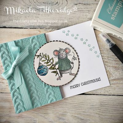Mikaela Titheridge, The Crafty oINK Pen: Merry Christmouse from the Merry Mice and Cable Knit Embossing Folder. Supplies available through my online store.