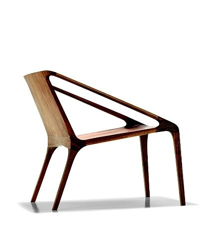 Simple wooden chair in American walnut; by Bernhardt Design.