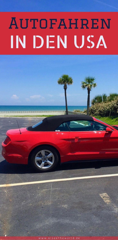 """Du fliegst bald in die USA? Nach Florida? In den Sunshine-State? Du überlegst dir, welchen Mietwagen du dir buchen sollst? Hast aber Angst vor dem Autofahren in Florida? Das musst du nicht haben. Es gibt lediglich ein paar Tipps, die du befolgen solltest und dann wird das Autofahren in Florida für dich zum Kinderspiel. Mein liebstes Auto in Florida ist ein Ford Mustang Cabrio. Ich denke gerne an """"meinen"""" roten Mustang zurück. In Daytona Beach vor dem Atlantik fotografiert - für mich perfekt."""