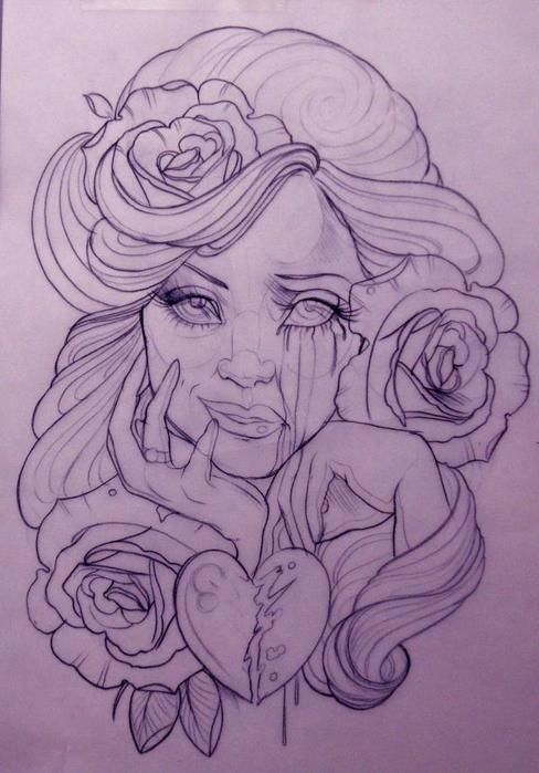 beautiful, cry, drawing, emily rose murray, flowers, girl - inspiring picture on Favim.com