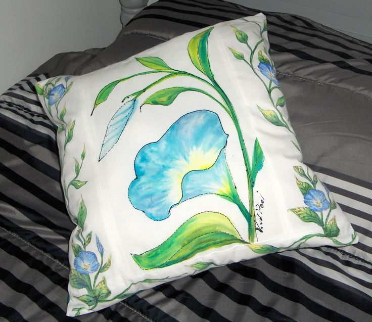 "Pillow - hand-painted with dyes and acrylic paint - 16"" x 16"" - $40.00 plus shipping"
